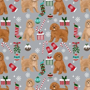 Cavoodle christmas holiday presents candy canes winter snowflakes dog fabric grey