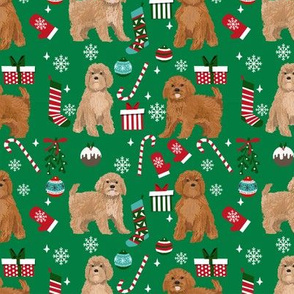 Cavoodle christmas holiday presents candy canes winter snowflakes dog fabric green