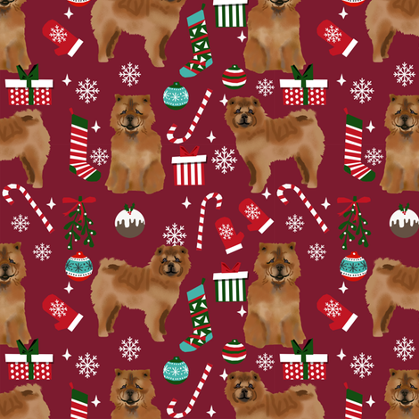 Chow Chow christmas holiday presents candy canes winter snowflakes dog fabric ruby fabric by petfriendly on Spoonflower - custom fabric