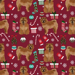 Chow Chow christmas holiday presents candy canes winter snowflakes dog fabric ruby