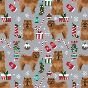 Chow Chow christmas holiday presents candy canes winter snowflakes dog fabric grey