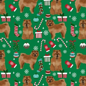 Chow Chow christmas holiday presents candy canes winter snowflakes dog fabric green