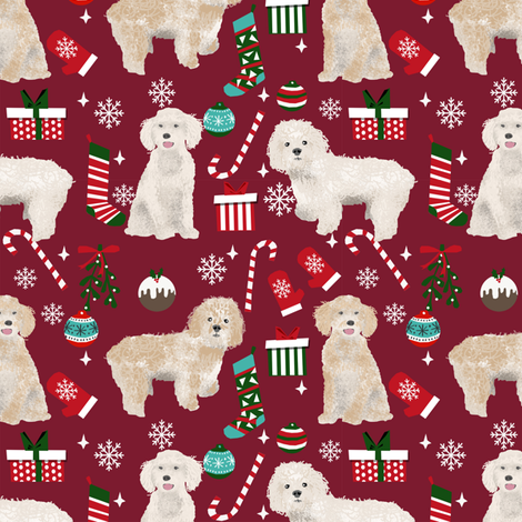 Cockapoo christmas holiday presents candy canes winter snowflakes dog fabric ruby fabric by petfriendly on Spoonflower - custom fabric
