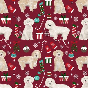 Cockapoo christmas holiday presents candy canes winter snowflakes dog fabric ruby