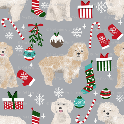 Cockapoo christmas holiday presents candy canes winter snowflakes dog fabric grey