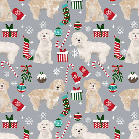 Cockapoo christmas holiday presents candy canes winter snowflakes dog fabric grey fabric by petfriendly on Spoonflower - custom fabric