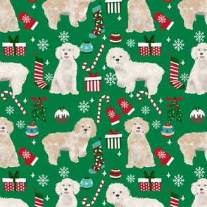 Cockapoo christmas holiday presents candy canes winter snowflakes dog fabric green
