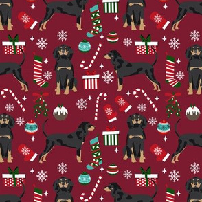 Coonhound christmas holiday presents candy canes winter snowflakes dog fabric ruby
