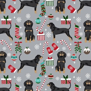 Coonhound christmas holiday presents candy canes winter snowflakes dog fabric grey