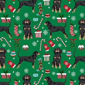 Coonhound christmas holiday presents candy canes winter snowflakes dog fabric green