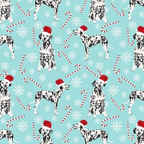 Dalmatian christmas holiday candy canes winter snowflakes dog fabric light blue