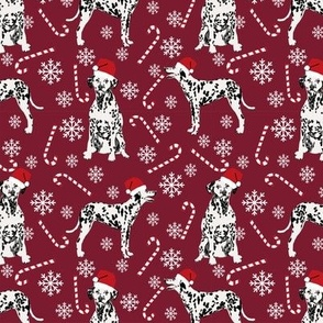 Dalmatian christmas holiday candy canes winter snowflakes dog fabric ruby
