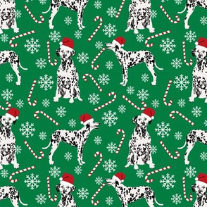 Dalmatian christmas holiday candy canes winter snowflakes dog fabric green