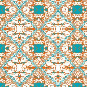 Latin Tile Turquois Orange White