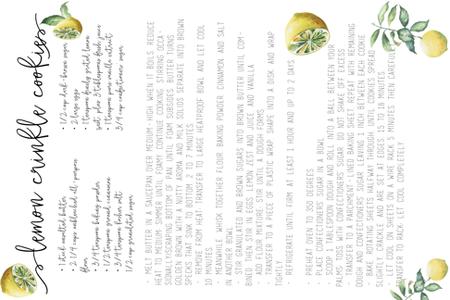 Lemon Crinkle Cookies Family Recipe fabric by hudsondesigncompany on Spoonflower - custom fabric