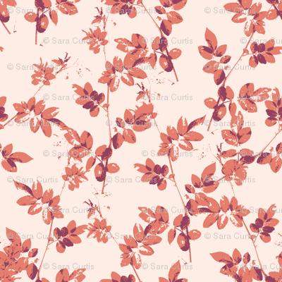 Botanical Leaf Shadows Pink