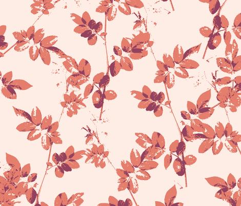 Botanical Leaf Shadows Pink fabric by radianthomestudio on Spoonflower - custom fabric