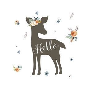 """14""""x14"""" Western Autumn Hello Deer / white inside a FQ"""