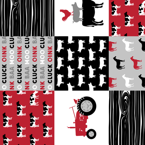 """(3"""" small scale) farm life wholecloth (90) - black and red woodgrain fabric by littlearrowdesign on Spoonflower - custom fabric"""
