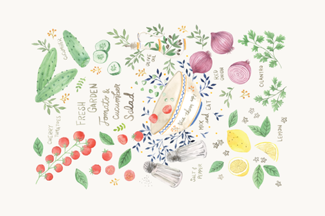 Garden Tomato & Cucumber Salad Recipe fabric by ldpapers on Spoonflower - custom fabric