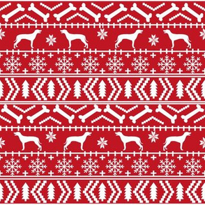 Weimaraner dog fabric - fair isle christmas design - red