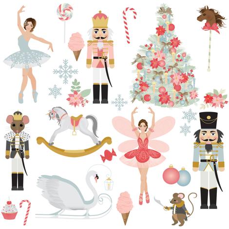 "8"" Nutcracker Dream Ballet //  White fabric by hipkiddesigns on Spoonflower - custom fabric"