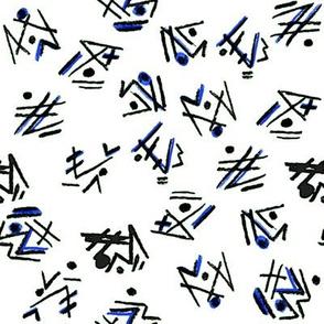 Alien Cuneiform Pattern - Blue