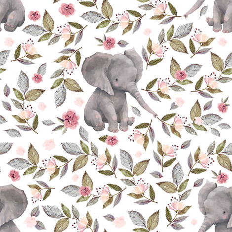 "8"" Baby Elephant with Flowers/ NO CROWN  / Mix & Match fabric by shopcabin on Spoonflower - custom fabric"
