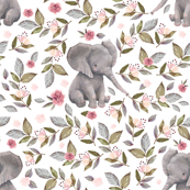 Baby Elephant with Flowers/ NO CROWN  / Mix & Match