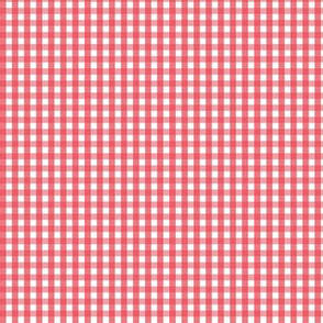 tiny gingham bold coral