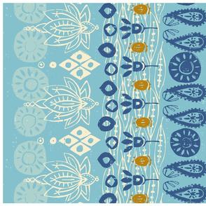 lotus block blue tea towel