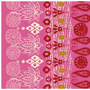lotus block pink tea towel