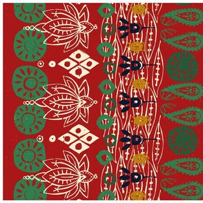 lotus block christmas tea towel