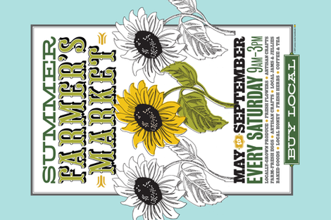 Farmer's Market Tea Towel* || farm sunflower flower illustration graphic design flowers cut and sew poster buy local typography summer fabric by pennycandy on Spoonflower - custom fabric
