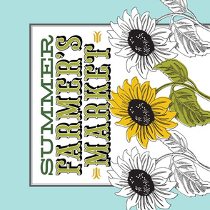 Farmer's Market Tea Towel* || farm sunflower flower illustration graphic design flowers cut and sew poster buy local typography summer