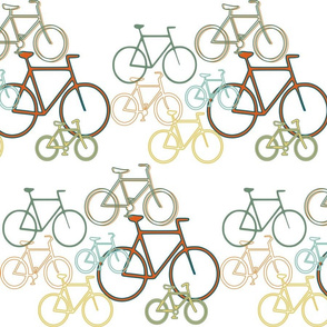 Bicycles In Orange And Teal