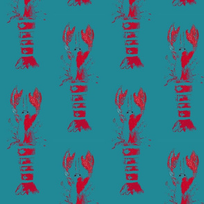 lobster wood block print - red and teal