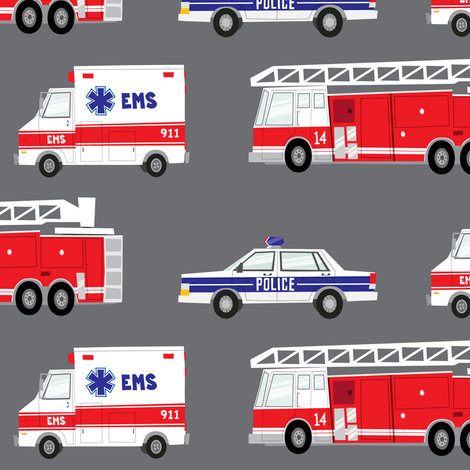 (large scale) first responders vehicles (grey)  fabric by littlearrowdesign on Spoonflower - custom fabric
