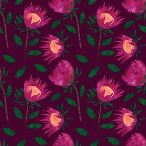 Watercolor Protea - Deep Purple