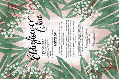 Elderflower Wine Teatowel fabric by pinky_wittingslow on Spoonflower - custom fabric