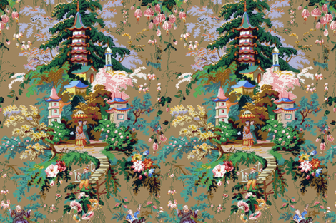 Chinoiserie Palace ~ Faded Glory ~ Large fabric by peacoquettedesigns on Spoonflower - custom fabric