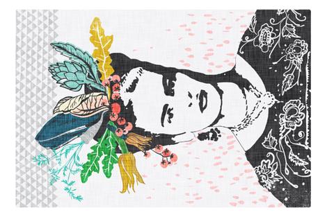 Frida's Cantina Tea Towel (emerald) fabric by nouveau_bohemian on Spoonflower - custom fabric