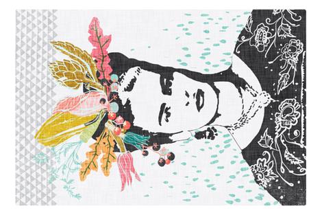 Frida's Cantina Tea Towel (coral)  fabric by nouveau_bohemian on Spoonflower - custom fabric