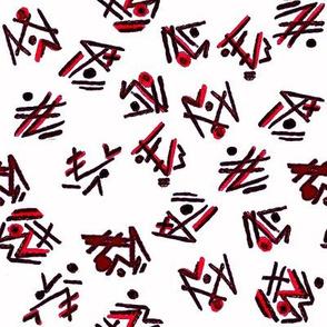Alien Cuneiform Pattern - Red