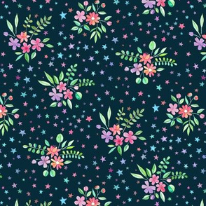 Tiny Watercolor Floral with Stars on Dark