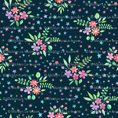 Watercolor Floral with Stars on Dark