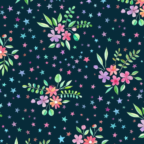 Watercolor Floral with Stars on Dark fabric by micklyn on Spoonflower - custom fabric