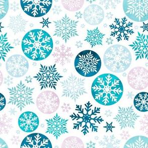 Magical snowflakes 1 // white background pink mauve turquoise pastel ice marine blue snowflakes