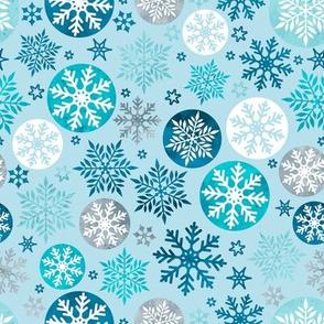 Magical snowflakes 2 // pastel blue background ice marine turquoise grey blue white snowflakes