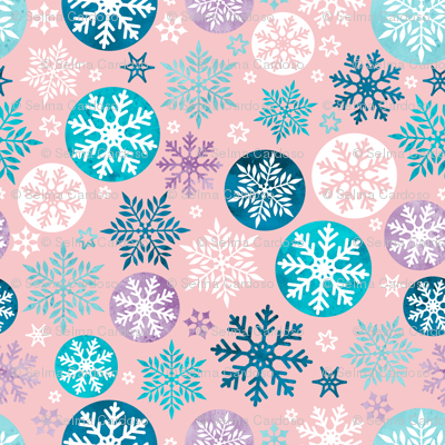 Magical snowflakes 3 // pink background turquoise ice marine blue lavander white snowflakes